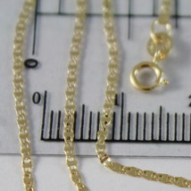 18K YELLOW GOLD CHAIN MINI OVAL FLAT LINK 1 MM WIDTH 17.70 INCHES MADE IN ITALY image 2