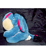 Eeyore Plush 8in Stuffed Animal Disney Blue Donkey Winnie the Pooh Pink Bow - $4.99