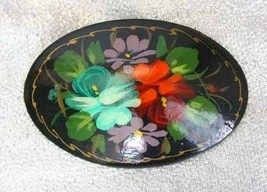 Elegant Hand-painted Signed Wooden Flowers Russian Brooch 1970s vintage - $14.20