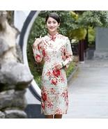 Women Vintage Plus Size Chinese Traditional Cheongsam Dress Linen Long S... - $49.98