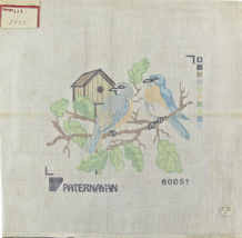1970's Paternayan Hand Painted Needlepoint 2 Blue Birds Sitting In A Tree  - $30.33
