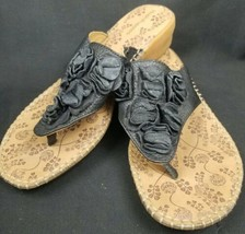 Hush Puppies Leather Brown And Black Thong Sandals W Ruffly Flowers Size... - $21.49