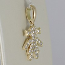 18K YELLOW GOLD GIRL CHARM PENDANT SMOOTH LUMINOUS BRIGHT ZIRCONIA MADE IN ITALY image 2