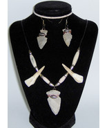 American Made! Elk teeth Bone, Stone Arrowhead Set Necklace & Arrowhead ... - $75.68