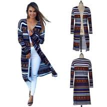 Multicolor Striped Print Thin Long Women Cardigan - $44.84