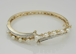 14k Yellow Gold Ladies Vintage Hinge Style Bangle with Diamonds & Pearls. Sm-Md - $1,695.00