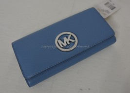 NWT MICHAEL Michael Kors Fulton Carryall Wallet in Sky - Light Blue  Lea... - £101.44 GBP