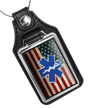 Subdued American Flag EMS Star of Life Thin Blue Line Faux Leather Key Ring - €9,82 EUR