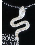Sterling Silver .925 Made with Swarovski Crystal Serpent Snake Pendant N... - $29.68