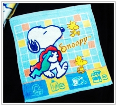 Snoopy & Woodstock Going Shower 34 X 35 Cm Blue Color Easy Use Cotton Face Towel - $8.88