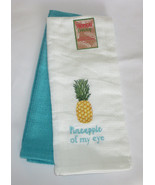 Pineapple Of My Eye Dishtowels White Blue Turquoise Embroidered New Set (2) - $15.83