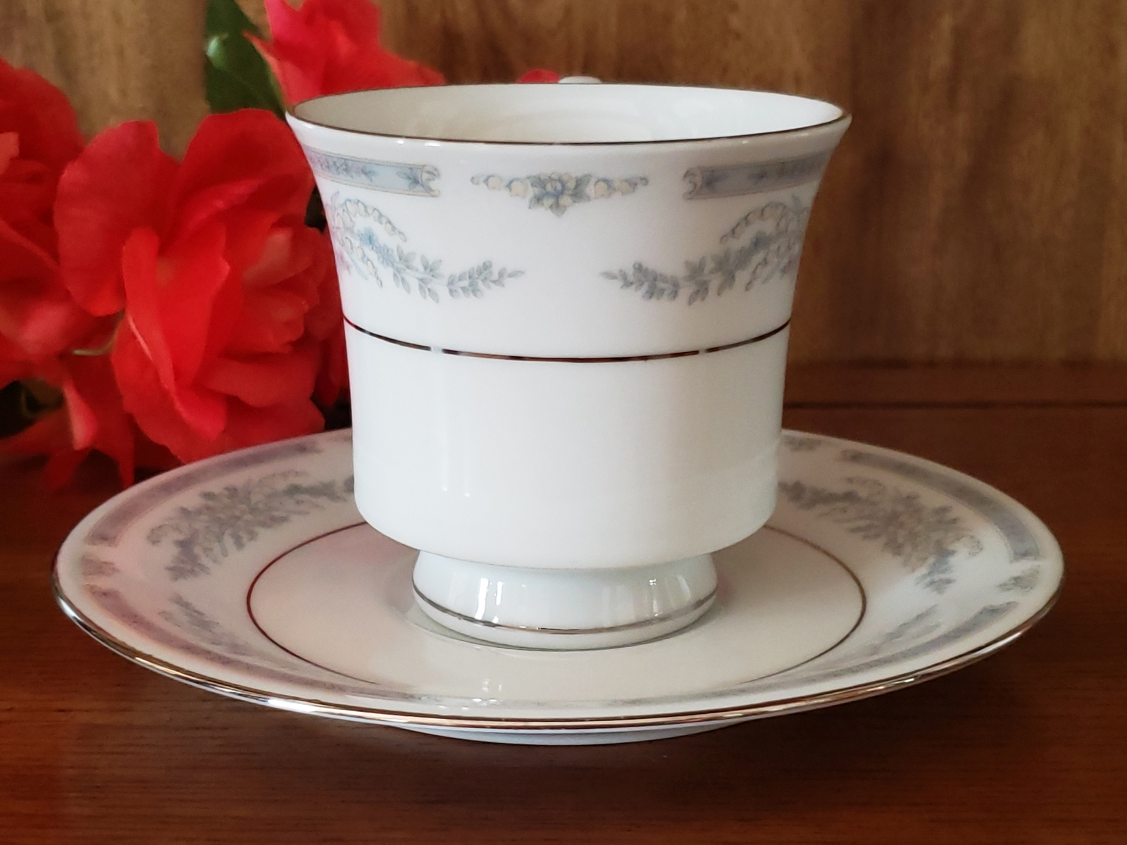 Blue Flowered Crown Ming Coffee Cup and Saucer
