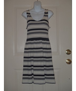 J Crew Villa Dress SMALL S Cotton Rayon Jersey Navy Striped Scoop Neck - $32.40