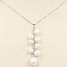 Halskette Weißgold 750 18K, Anhänger Cluster, Perlen Weiß, Kette Venetian image 1