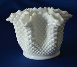 "Westmoreland  Milk Glass English Hobnail #555 Ruffled Bowl 8"" - $14.85"