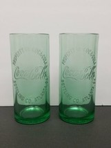 2009 COCA-COLA Green Glass Cup Embossed Rare - Pair - $21.46