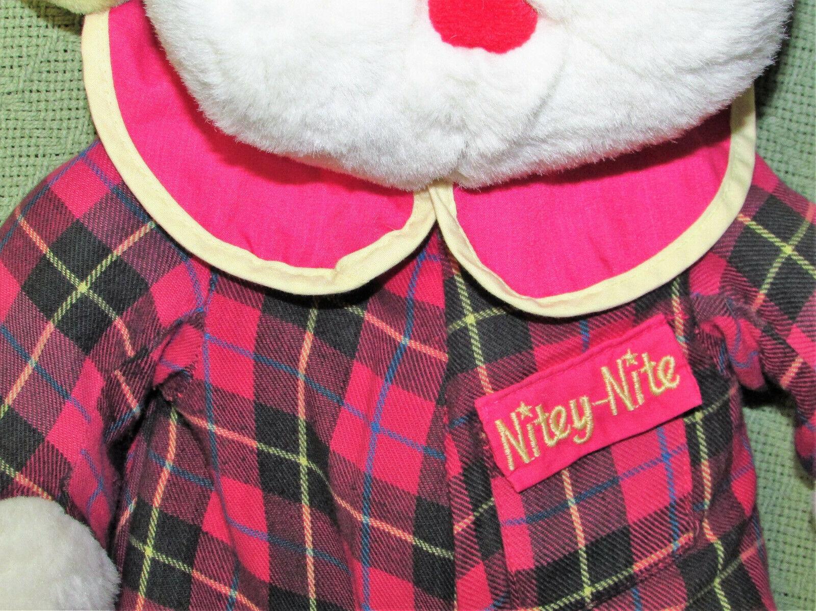 "Vintage Commonwealth STUFFED COW NITEY NITE Bedtime Plush 19"" Red Plaid Pajamas"