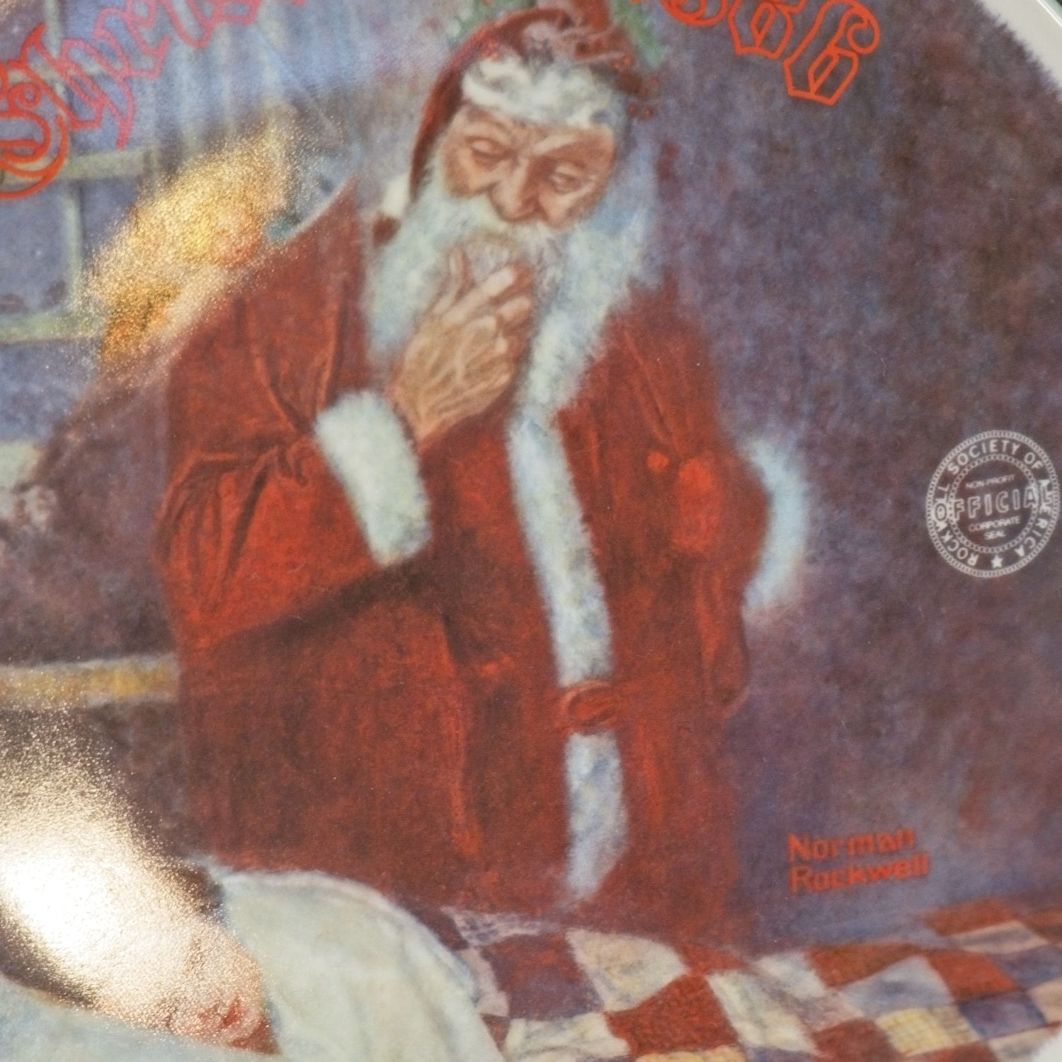 """1986 Knowles Norman Rockwell Christmas Collector Plate, """"Deer Santy Claus."""""""