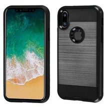For APPLE iPhone XS/X Black/Black Brushed Hybrid Case Cover - $11.07