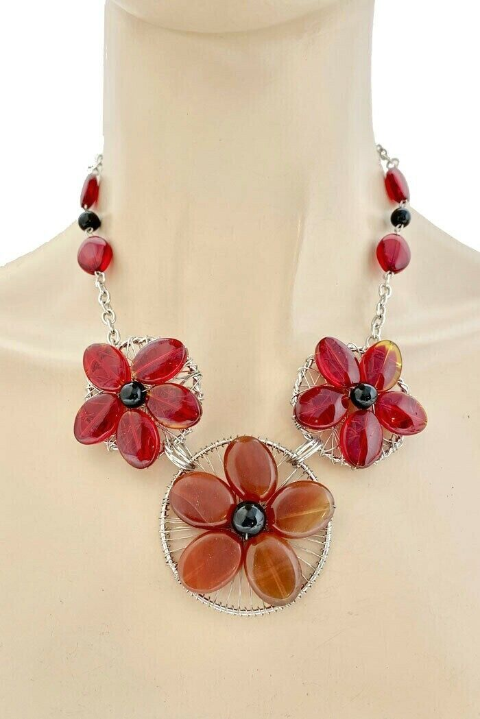 Primary image for Red and Brown Natural Agate Gemstone Flower Handmade Necklace Earrings,Casual