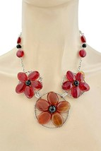 Red and Brown Natural Agate Gemstone Flower Handmade Necklace Earrings,C... - $21.80