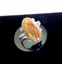VINTAGE Sterling Silver Polished Fire Opal Genuine Stone RING - $34.00