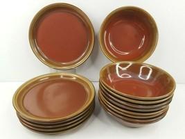 15 Mikasa Potters Art Fusion Ben Seibel Vintage Brown Tan Plate Bowl Sto... - $118.47