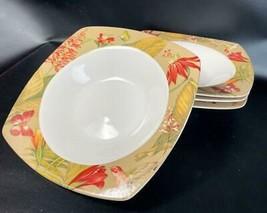 "(4) 222 Fifth PTS International Antigua 8.75"" Floral Hummingbird Soup Bowl - $34.64"