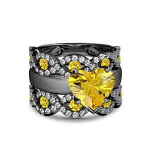 Heart Shape Yellow Sapphire Womens 3pcs Bridal Ring Set Black Finish 925... - $101.47