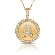 """14K Solid Yellow Gold Round Circle Initial """"A"""" Letter Charm Pendant Neck... - $30.99+"""