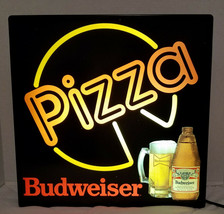 "Vintage 1990 Budweiser Beer Lighted Window Pizza Sign 18"" x 18"" - $95.06"
