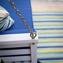 """White Coastal Cottage Wood 65"""" Porch Swing With Blue Cushions Outdoor Furniture image 5"""
