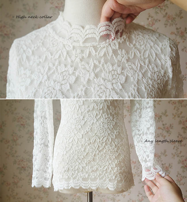 Women Retro Mock Neck Long Sleeve Floral Lace Blouse Wedding Bridesmaid Blouse