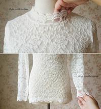 Women Retro Mock Neck Long Sleeve Floral Lace Blouse Wedding Bridesmaid Blouse image 6