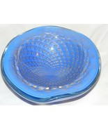 Vintage MURANO BAROVIER Periwinkle Blue Gold Swirl Bubble Bowl  Italy glass - $148.49