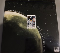 US 25TH ANNIVERSARY OF THE FIRST MOON LANDING STAMP FOLIO 1994 SPACE APO... - $6.00