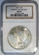 1923 Silver Peace Dollar NGC MS 65 Patriot Collection Pedigree Hoard Coin - $189.99