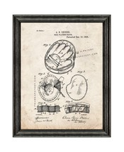 BaseBall Player's Glove Patent Print Old Look with Black Wood Frame - $24.95+