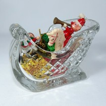 Leaded Crystal Holiday Sleigh Candy Dish Diamond Pattern Lead 24% - $16.82