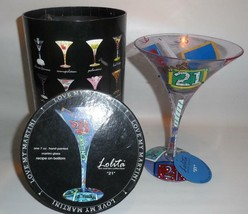 "Lolita ""21"" Hand Painted Twenty-First Birthday Martini Glass with Recipe... - $23.76"