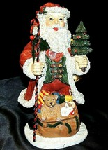 International Santa with Striped Candy Cane Staff 1996 AA20-7309 Vintage