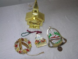 Lot of 4 Brass Dimensional Church Flat Painted Enamel Metal Christmas Ho... - $10.39
