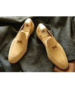 Goodyear Welted Men's Loafer Shoes, Men's Beige Suede Loafer Slip on Shoes. - $149.99+