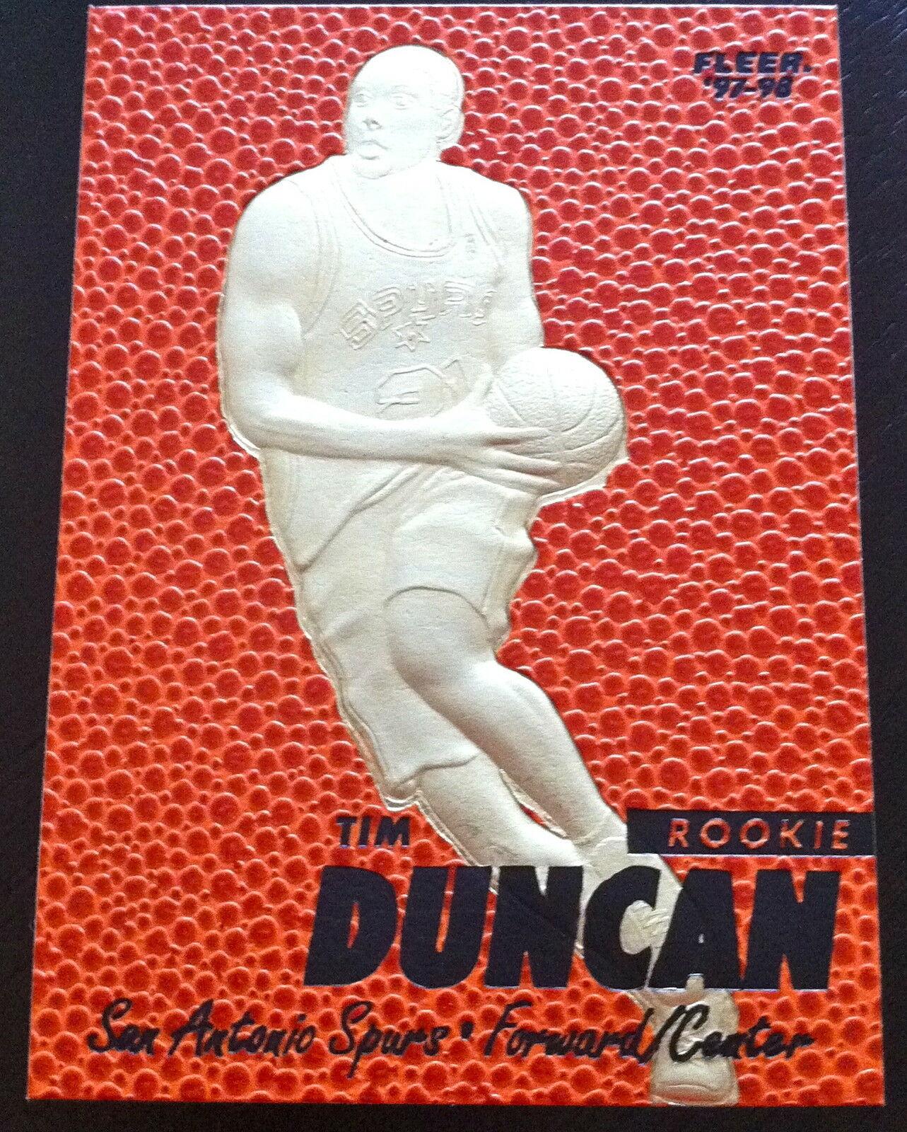 Tim Duncan 1997-98 Fleer 23KT or Édition Limitée Carte Rookie! 5X NBA Champion !