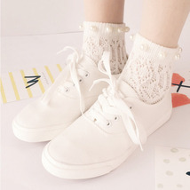 Summer Women Japan Cotton Novelty Pearl Socks Hollow Hook Flowers Prince... - $8.99
