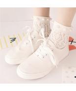 Summer Women Japan Cotton Novelty Pearl Socks Hollow Hook Flowers Prince... - $8.99