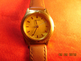 Ladies, Gold Plated, Seiko, Quartz Wristwatch, with Leather Strap. - $15.99