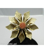 Vintage Gold Tone Bronze Goldstone Flower Pin Brooch - $14.85