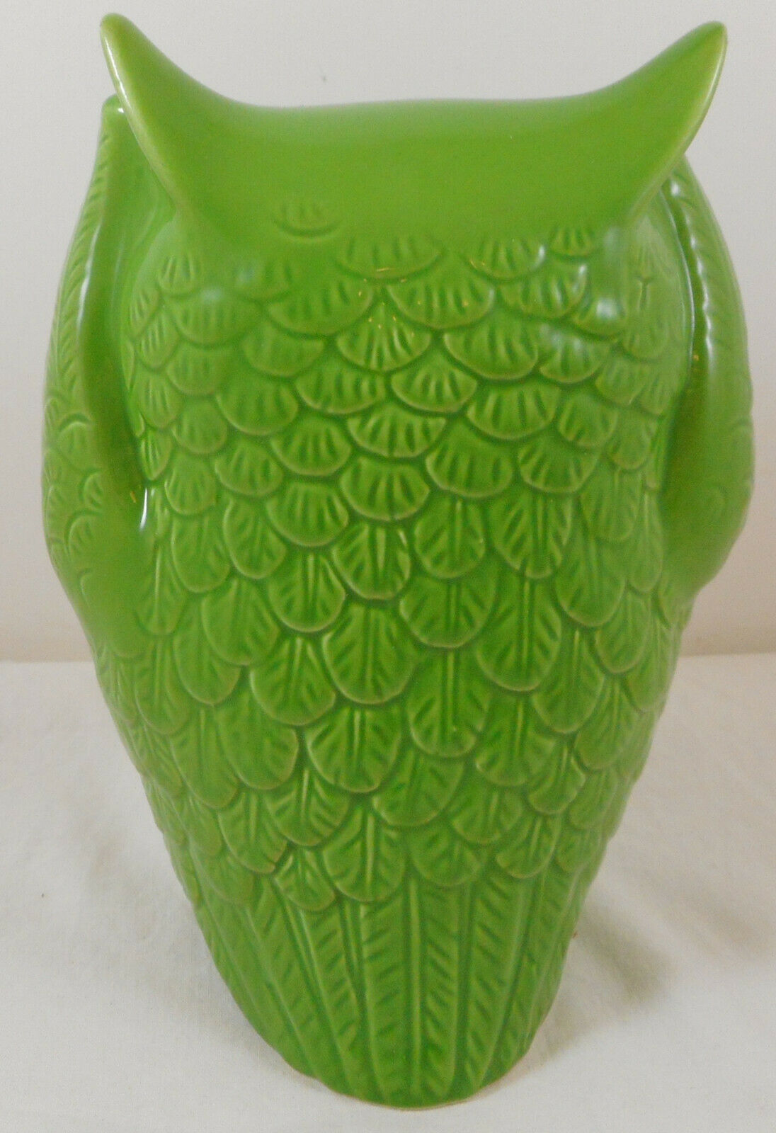 "Urban Trends Hear No Evil owl Figurine 7"" Green Ceramic"