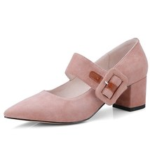 Heeled High Pumps FEDONAS Pointed Thick Mary Fashion Toe Suede Brand Jane Women aazOw